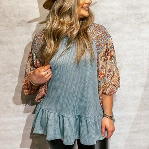 Waffle Knit Floral Top